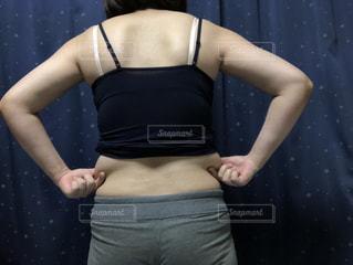 女性,1人,黒,人,腹,脂肪,脇腹