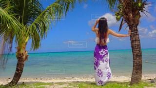 海,夏,サングラス,ビーチ,後ろ姿,砂浜,ハイビスカス,水着,人物,背中,人,ヤシの木,グアム,ココス島,パレオ,映え,インスタ映え