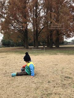 フリスビーで遊ぶ少年の写真・画像素材[1681698]