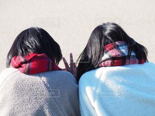 姉妹でマフラーの写真・画像素材[1699494]