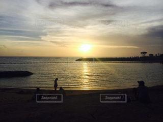 海,夏,夕日,ビーチ,沖縄,サンセット