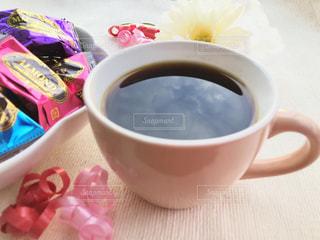 コーヒー,ピンク,赤,リボン,チョコレート,珈琲,珈琲タイム