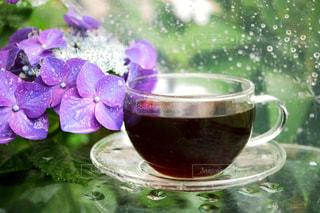 飲み物,コーヒー,COFFEE,雨,紫陽花,珈琲,梅雨,ガクアジサイ,雨の日,アジサイ