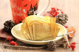 食べ物,秋,ケーキ,木の実,デザート,松ぼっくり,テーブルフォト,食,モンブラン,オヤツ,食欲の秋