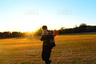 男性,恋人,自然,空,公園,秋,夕日,木,屋外,太陽,晴れ,青空,夕方,光,一眼レフ,カメラ男子
