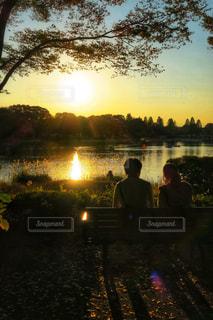 秋の夕陽の写真・画像素材[863908]