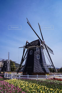 バック グラウンドでの風車の写真・画像素材[1030476]