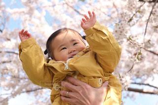 子ども,風景,花,春,桜,木,屋外,花見,女の子,樹木,お花見,人,笑顔,イベント,幼児,1歳