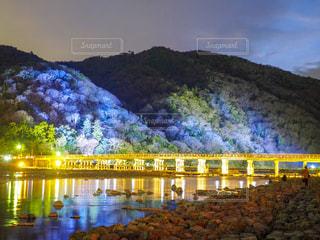 橋の上の大きな長い列車の写真・画像素材[919605]