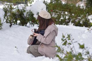 女性,アウトドア,公園,雪,雪だるま,ポートレート,休日,野外,お出かけ