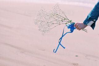 自然,かすみ草,花束,海辺,景色,リボン,ブルー,休日,りぼん,ブルーリボン