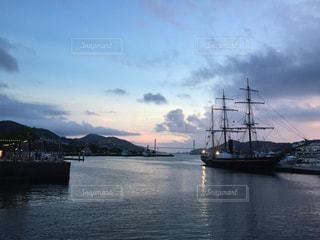 夕暮れ,船,水面,港,長崎,帆船,長崎港