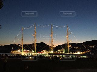 夜,船,週末,長崎,水辺の森