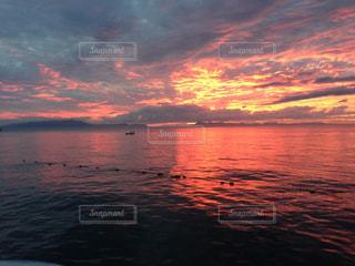 水の体に沈む夕日の写真・画像素材[957922]
