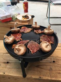 肉,バーベキュー,休日,BBQ,しいたけ