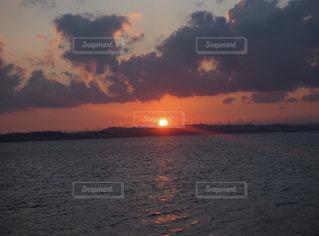 海,空,夕日,雲,夕陽,サンセット
