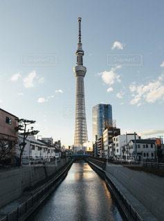 都市で川を越えた東京スカイツリーを横断鉄道の写真・画像素材[986971]