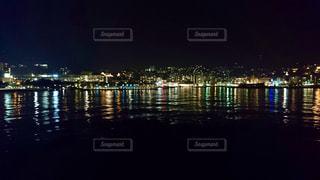 夜,夜景,水面,船から,長崎港