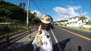 雲,青空,後ろ姿,沖縄,旅行