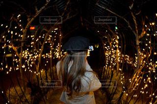 夜ライトアップされたクリスマス ツリーの写真・画像素材[932207]