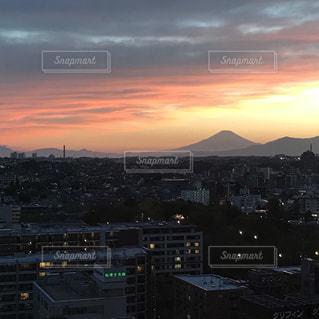 風景,空,夕日,富士山,夕焼け,夕暮れ,都会,桜木町,眺め