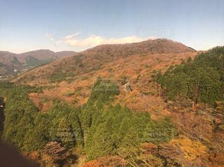 背景の山に大規模なグリーン フィールドの写真・画像素材[862333]