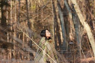 森の中に立っている女性の写真・画像素材[865330]