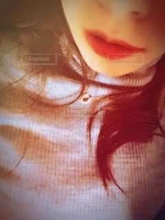 赤リップの女性の写真・画像素材[878774]