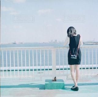 海,カメラ,カメラ女子,青,後ろ姿,女子,神戸