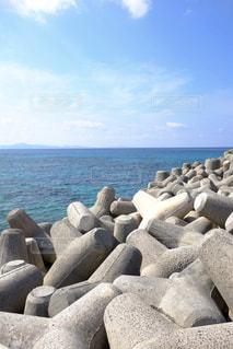 自然,海,空,屋外,青空,青,テトラポッド,沖縄,旅行