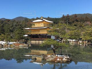 自然,冬,雪,京都,緑,青,景色,観光,旅行,寺,金閣寺