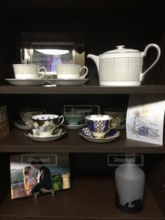 飾られたコーヒー カップの写真・画像素材[1006493]