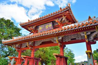 赤,晴れ,沖縄,首里城,守礼門