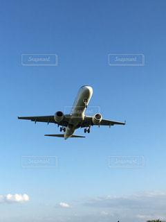 曇り空を飛ぶ大型旅客機の写真・画像素材[1102090]