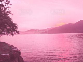 屋外,湖,ピンク,朝日,水,幻想的,山,光,旅行,琵琶湖,桃色