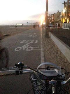 海,夕日,自転車,海岸,アメリカ,サイクリング,サンタモニカ