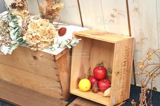 秋,フルーツ,りんご,木箱