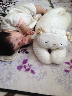 テディベアとベッドの上で横になっている赤ちゃんの写真・画像素材[897613]