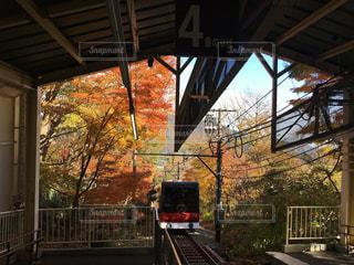 下り列車を走行する列車を追跡駅のそばの写真・画像素材[894627]