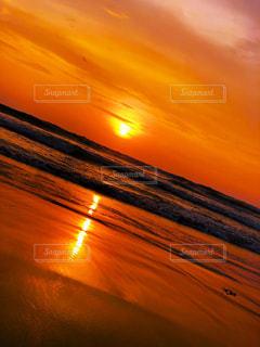 海,夕日,砂浜,バリ島