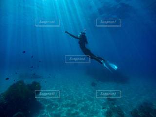 青い水を飛ぶ女の写真・画像素材[897216]