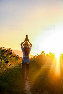 消火栓の上の黄色い夕日の写真・画像素材[2130571]