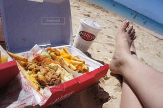 風景,海,夏,ランチ,ビーチ,自由,ハンバーガー,アメリカ,浜辺,USA,ハワイ,Hawaii,脚,バカンス,ジャンクフード
