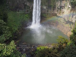 森の中の大きな滝の写真・画像素材[916412]