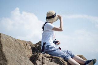 自然,風景,空,夏,屋外,ビーチ,青,帽子,水面,岩,人物,人,ボトル,履物,タケヤ,タケヤフラスクトラベラー