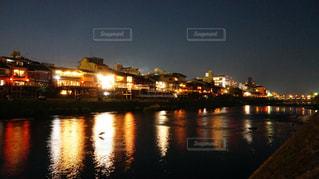 夜,夜景,屋外,京都,観光,鴨川,鴨川納涼床