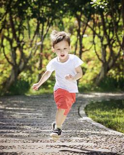 フリスビーで遊ぶ少年の写真・画像素材[1852044]