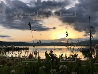 空,夕日,諏訪湖