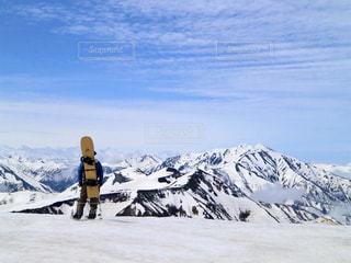 絶景,後ろ姿,雪山,背中,雲海,立山,スノーボード,バックカントリー