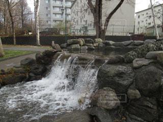 北大中央ローンを流れる小川と滝の写真・画像素材[901428]
